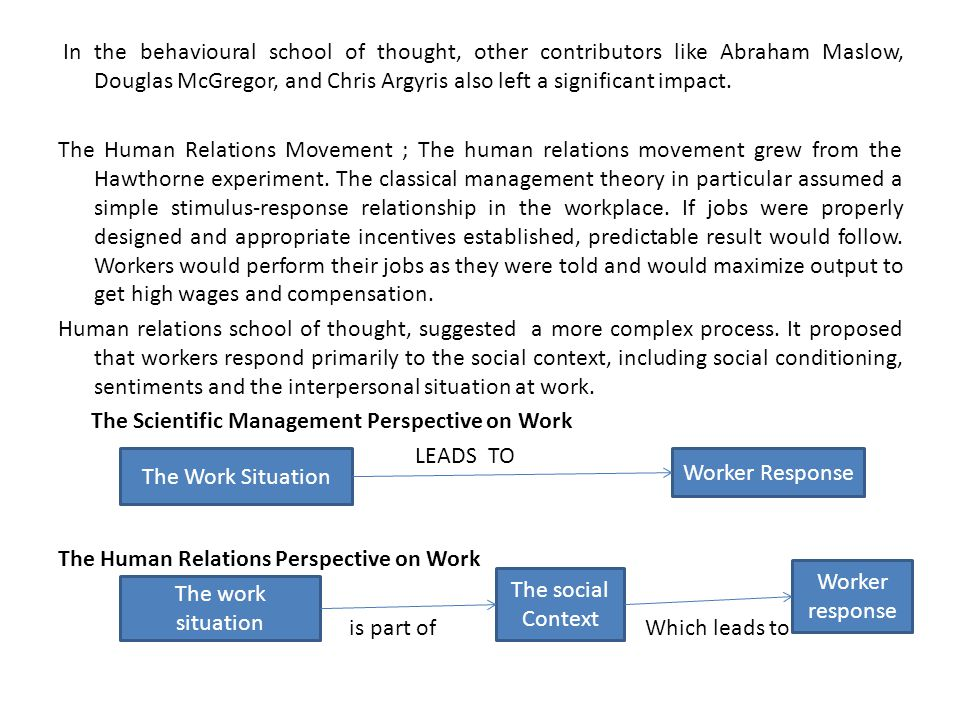 "taylorism and human relations school thought ""compare and contrast the attitudes of the scientific school of management thought (taylor et al) with those of the human relations movement (mayo et al."