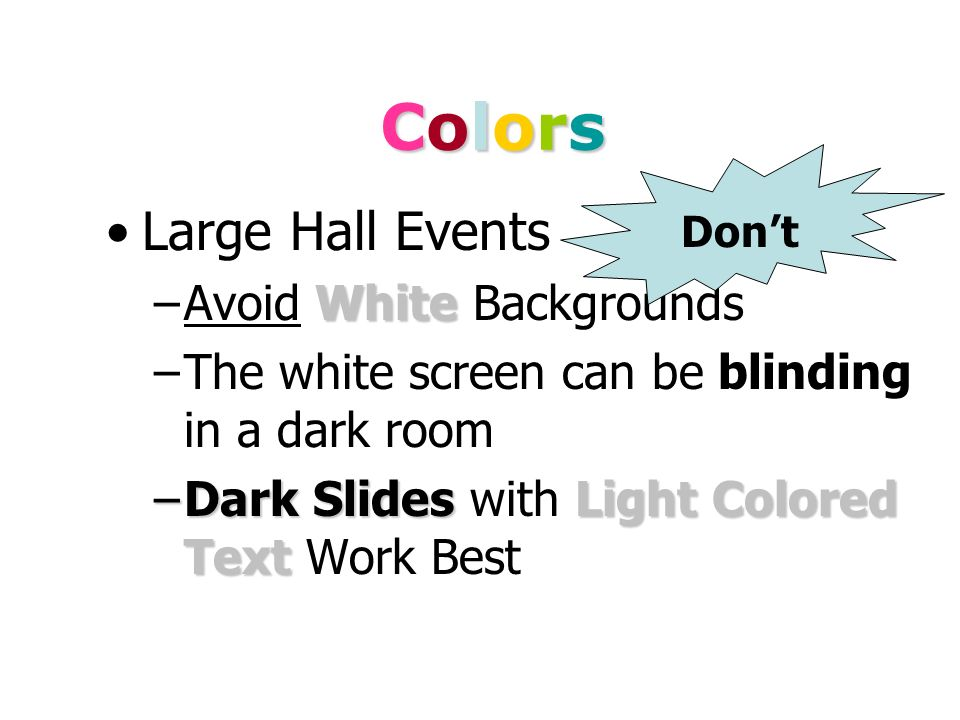 Colors Large Hall Events Avoid White Backgrounds