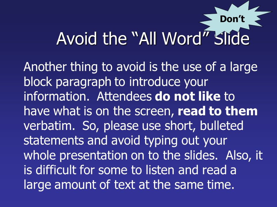 Avoid the All Word Slide