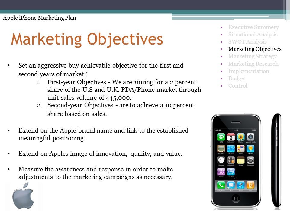 marketing objectives for iphone Iphone, ipad and ipod operating system – ios previously  clearly defined  objectives must build an effective marketing communications.
