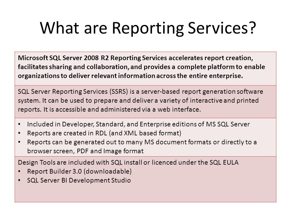 What are Reporting Services