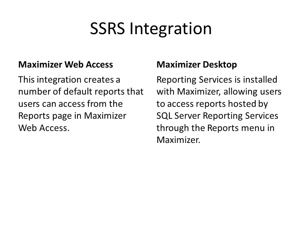SSRS Integration Maximizer Web Access Maximizer Desktop