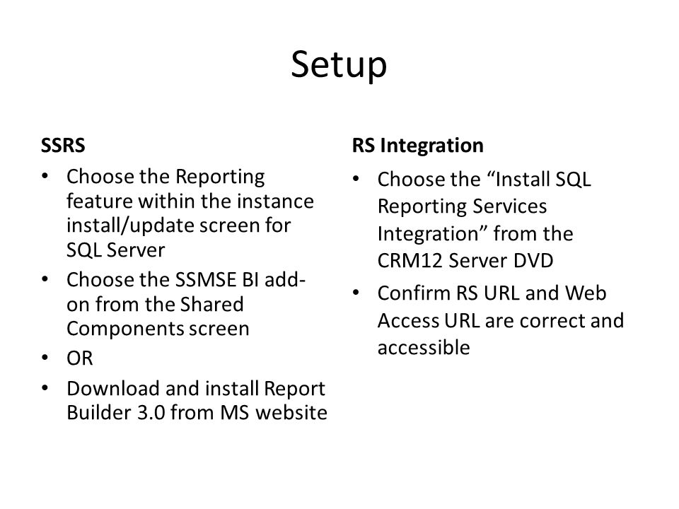 Setup SSRS RS Integration