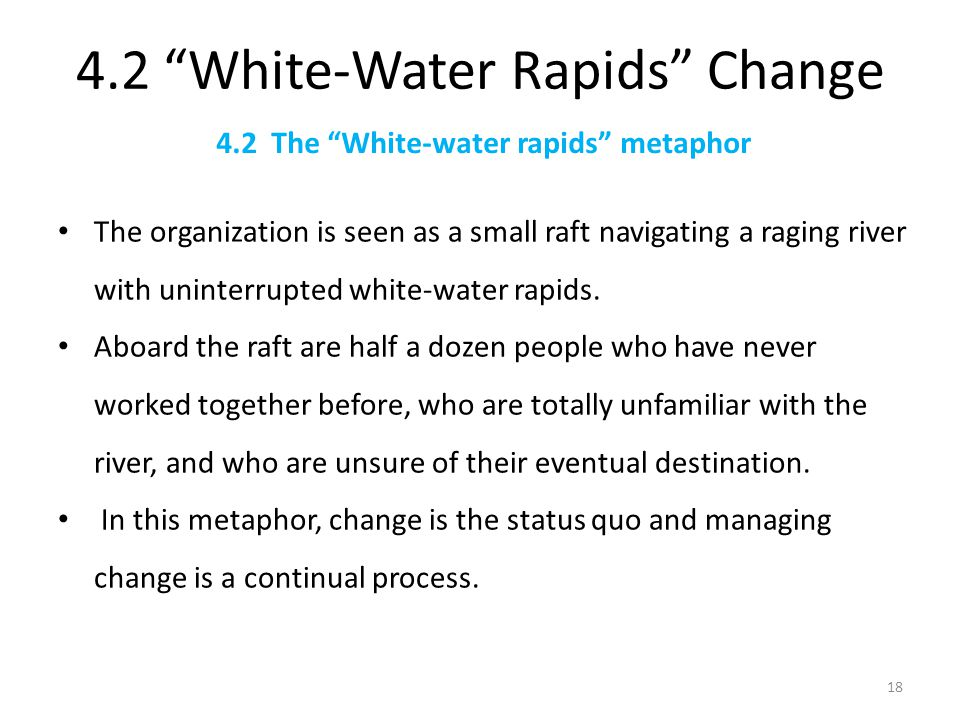 white water metaphor and change management This paper deals with the concepts of biological metaphor and analogy,   cultural change, and organizational dynamics means in the organization are   devices, electricity networks, water supply pipes, factories, grocery storehouses,   best practices in white-collar downsizing: managing contradictions.