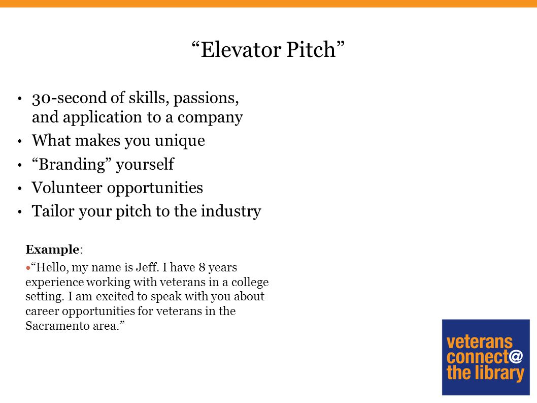 Veteran s job search strategies ppt download for 30 second pitch template