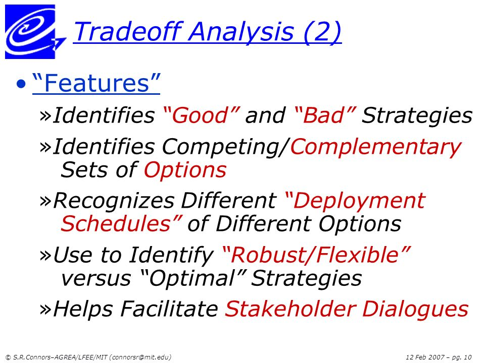 Tradeoff Analysis (2) Features