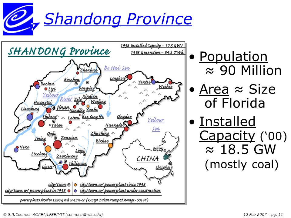 Shandong Province Population ≈ 90 Million Area ≈ Size of Florida