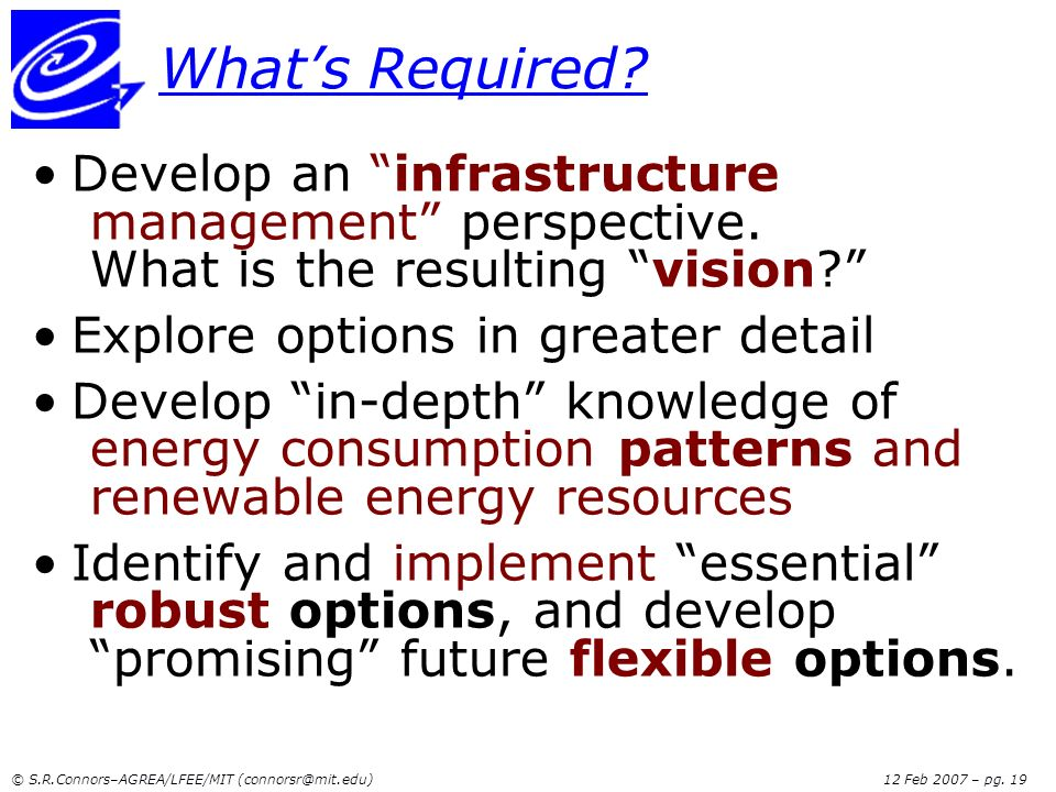 What's Required Develop an infrastructure management perspective. What is the resulting vision