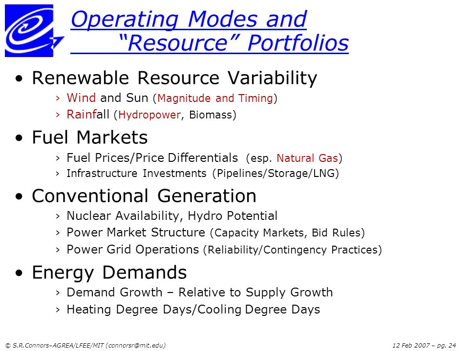 Operating Modes and Resource Portfolios