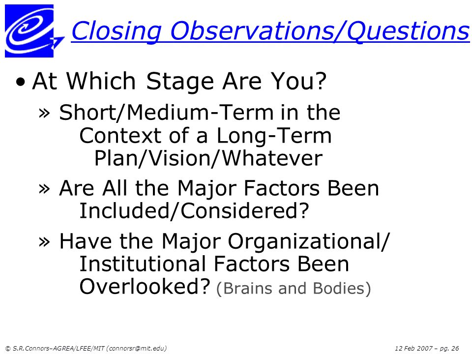 Closing Observations/Questions