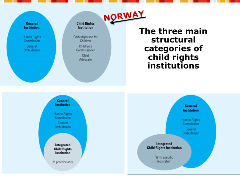 The three main structural categories of child rights institutions