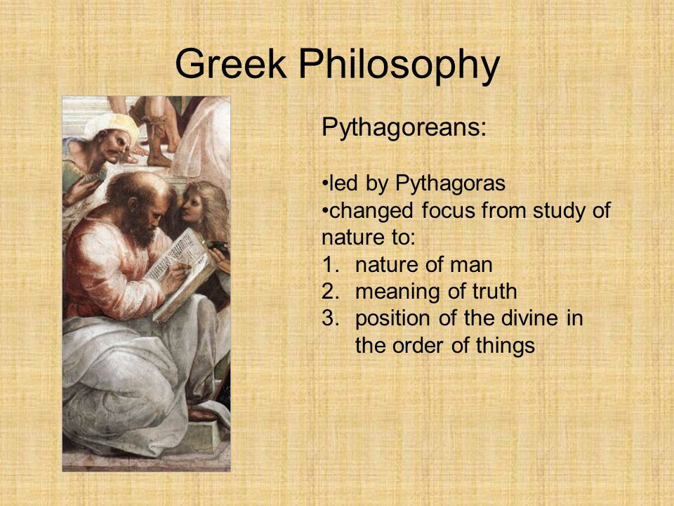an introduction to the analysis of the pythagorean philosophy The first recorded natural philosopher, thales, and his materialist followers and •  the mathematician and philosopher pythagoras and his followers the   introduction  person we know of to mathematically analyse musical sounds.