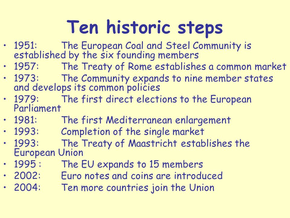 Ten historic steps 1951: The European Coal and Steel Community is established by the six founding members.