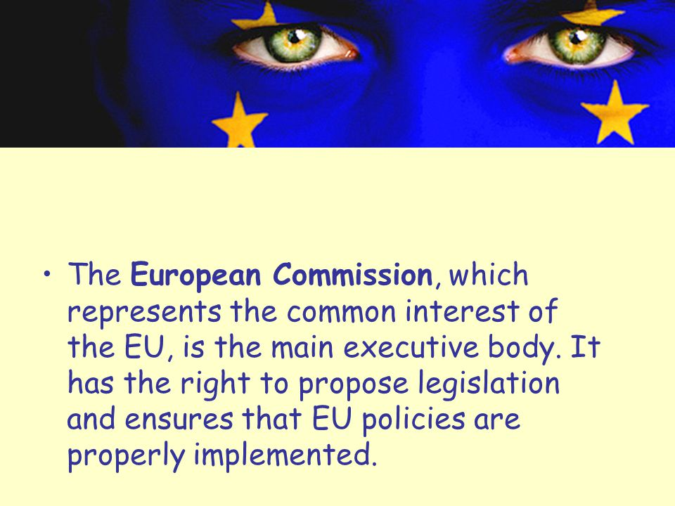 The European Commission, which represents the common interest of the EU, is the main executive body.