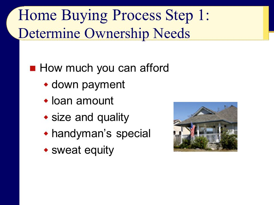 Home Buying Process Step 1: Determine Ownership Needs