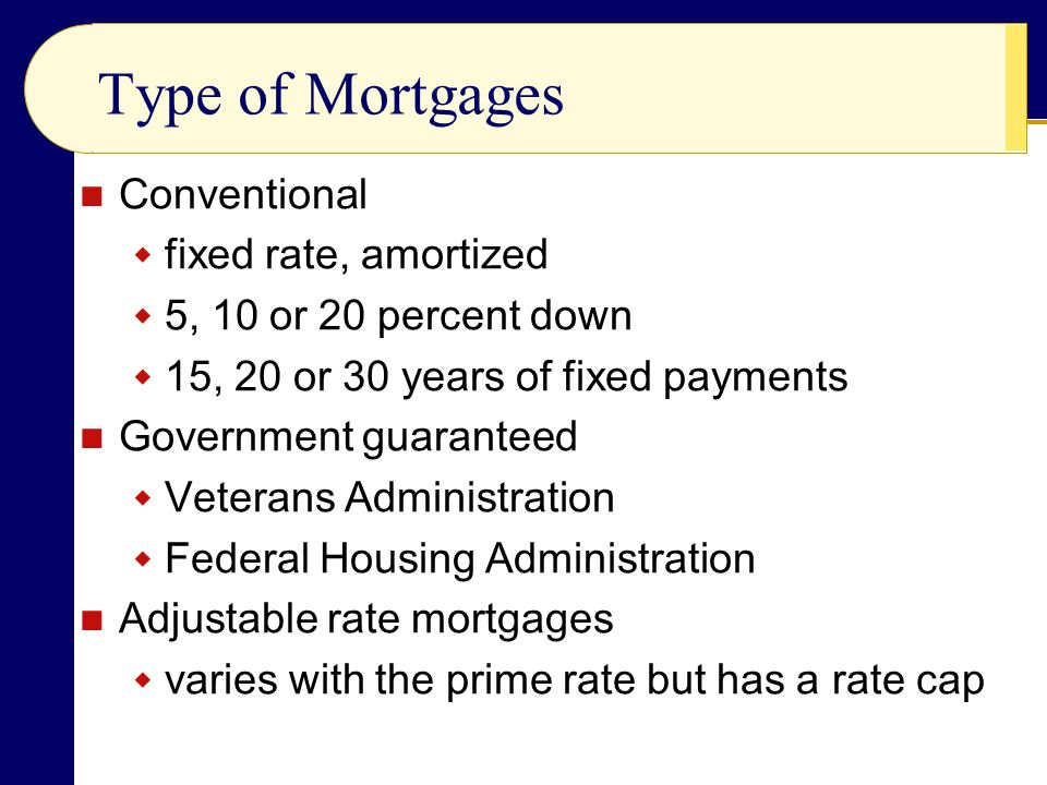 Type of Mortgages Conventional fixed rate, amortized