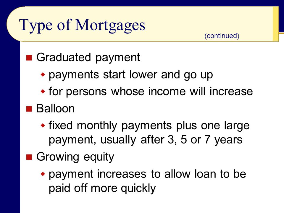 Type of Mortgages Graduated payment payments start lower and go up
