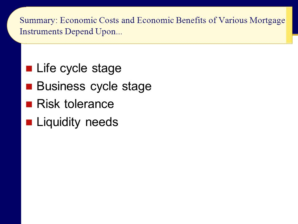 Life cycle stage Business cycle stage Risk tolerance Liquidity needs