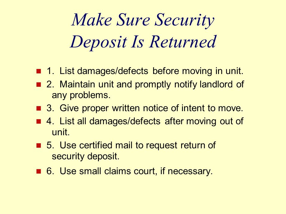 Make Sure Security Deposit Is Returned