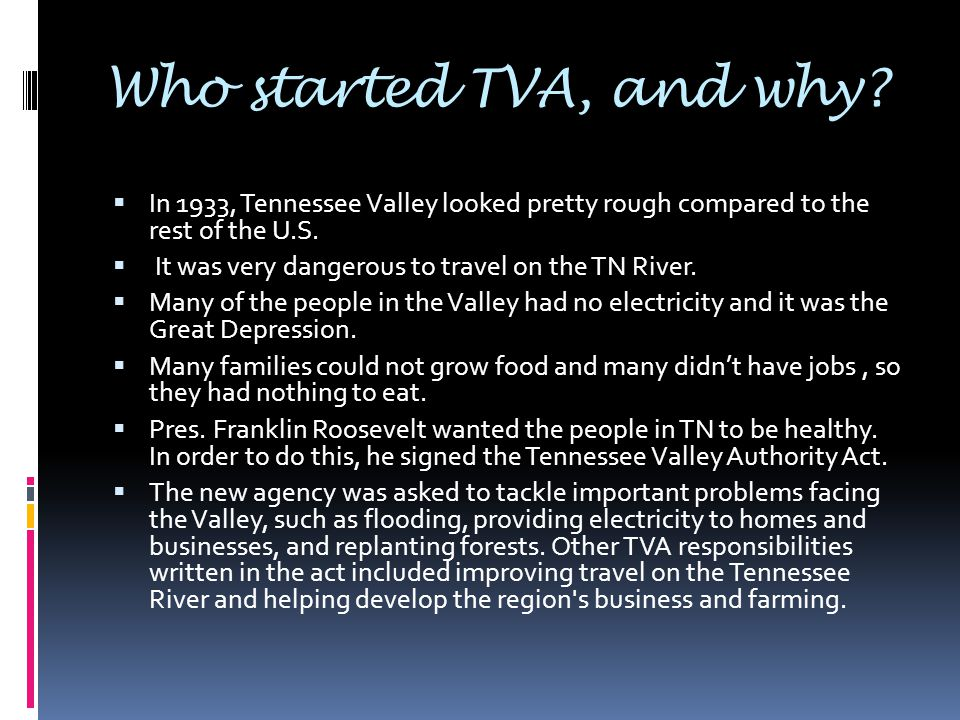 tennessee valley authority persuasive essay Research paper on ronald reagan's persuasive speakers use charisma and charm to in tennessee he proposed the sale of the tennessee valley authority.
