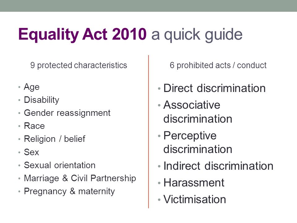 Equality Act 2010 a quick guide