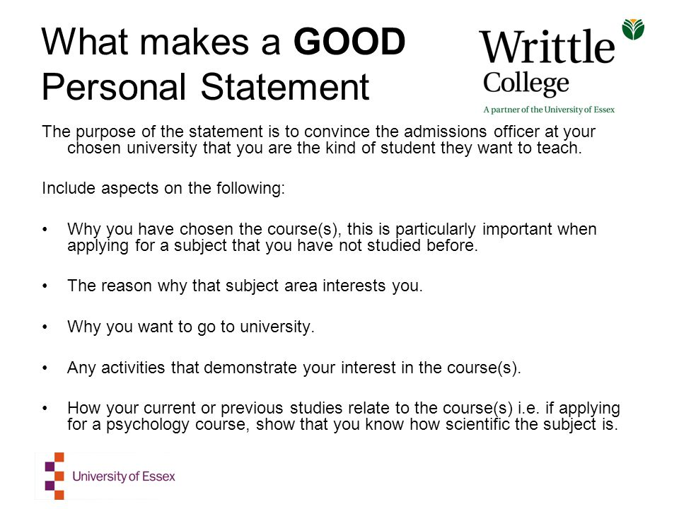Personal statement essay for college applications makes a good