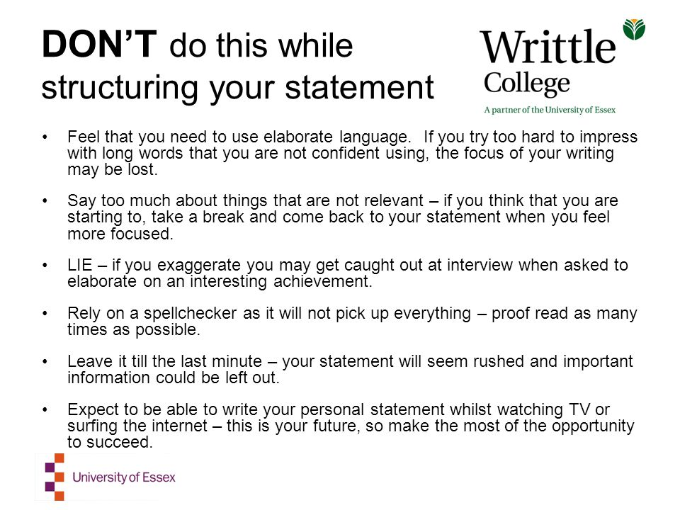 starting a personal statement for college