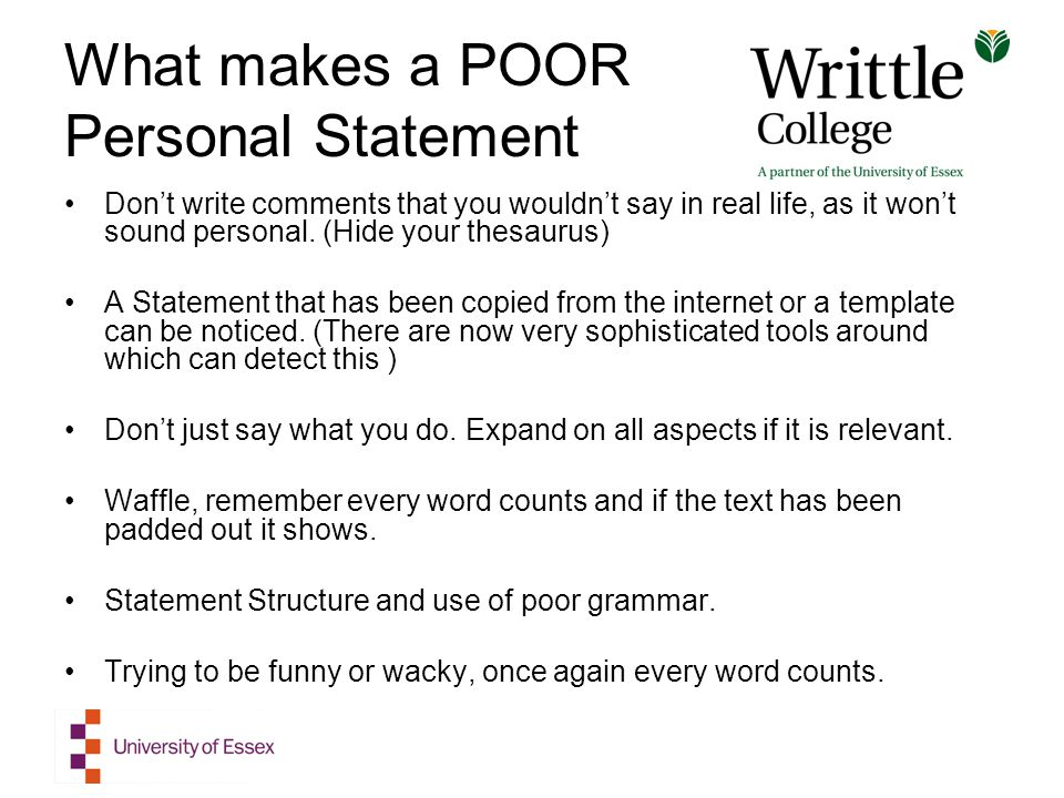 personal statement words to use