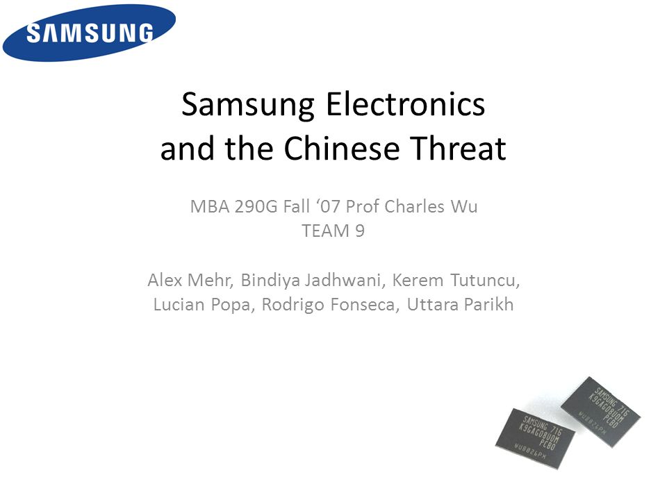 samsung electronics and the chinese threat The threat of new entrants in the industry that samsung electronics operates in is generally low, because of the oversaturation of the business and because the existing competitors have established some barriers to entry, particularly the well established reputation of the existing brands.