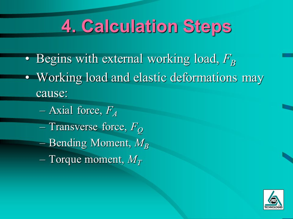 4. Calculation Steps Begins with external working load, FB