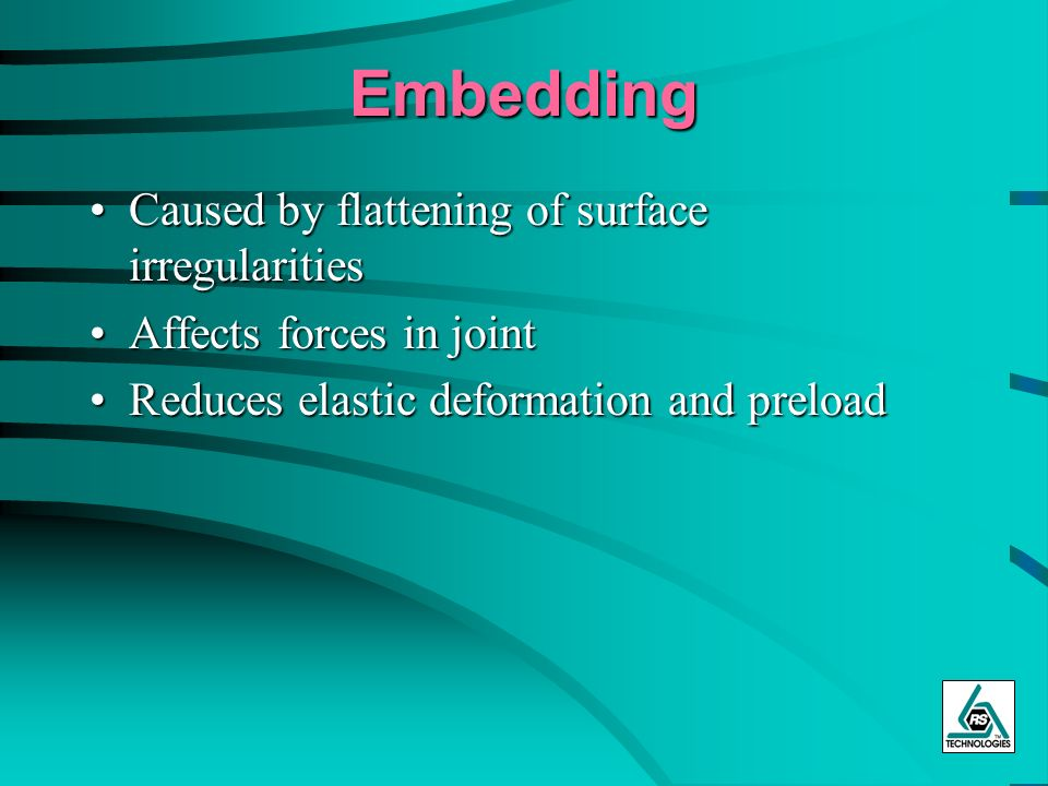 Embedding Caused by flattening of surface irregularities