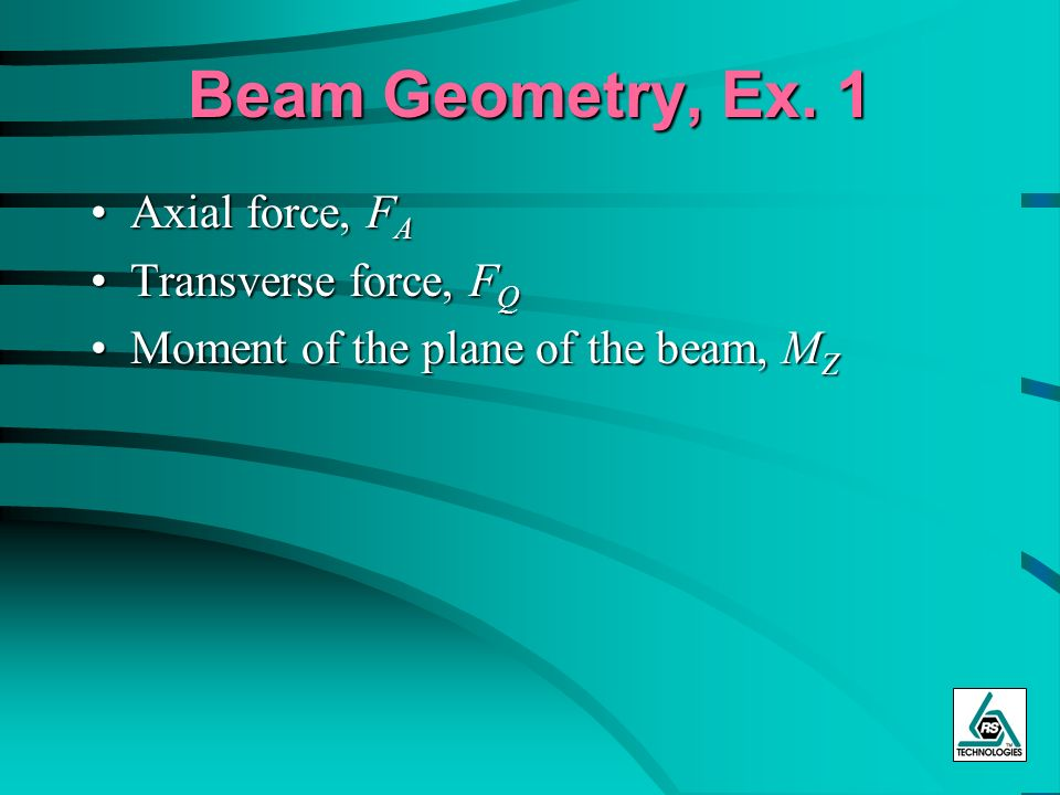 Beam Geometry, Ex. 1 Axial force, FA Transverse force, FQ