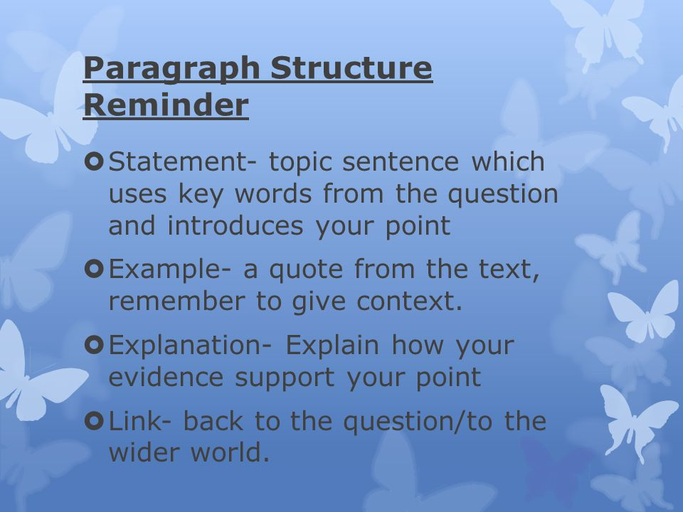 Paragraph Structure Reminder