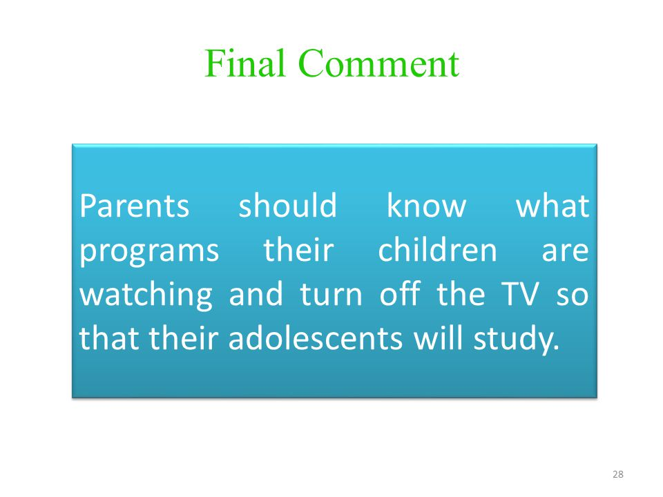 should children watch television essay Should sex and violence be restricted media essay children should not be watching tv if you are the original writer of this essay and no longer wish to.