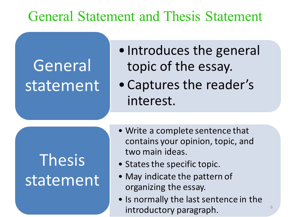 general essay statements A thesis statement usually appears at the middle or  and three reasons are an indirect thesis statement the essay will contain the three  in general, it.