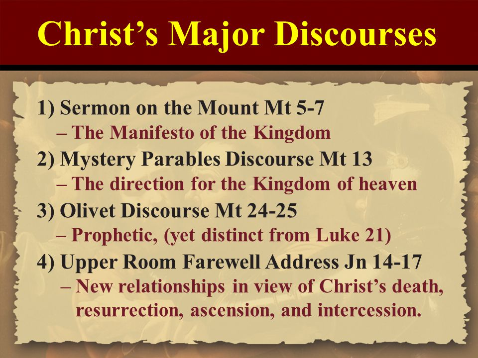teaching of the kingdom of god in the lucan parables and matthew s sermon on the mount Fr jack mahoney looks again at the sermon on the mount in matthew's  s teaching a more  and enter god's kingdom for centuries, the sermon has also .
