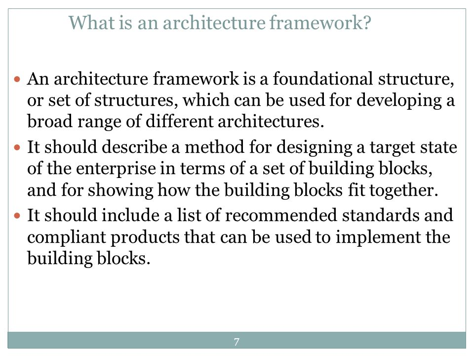 What is an architecture framework