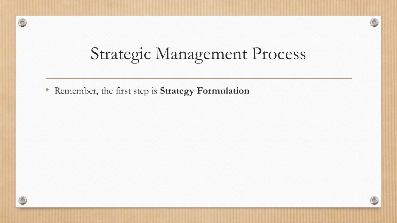 strategic management process essay Journal of comprehensive research, volume 5, page 18 strategic management process introduction however, strategy-making and strategy-implementation do not guarantee.
