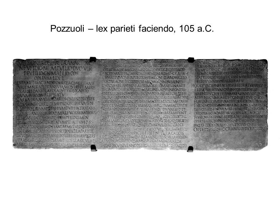 Pozzuoli – lex parieti faciendo, 105 a.C.