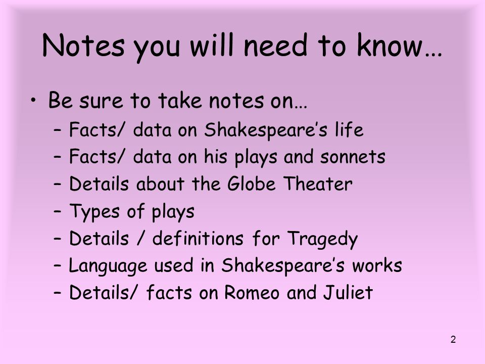 how to make notes on shakespeare