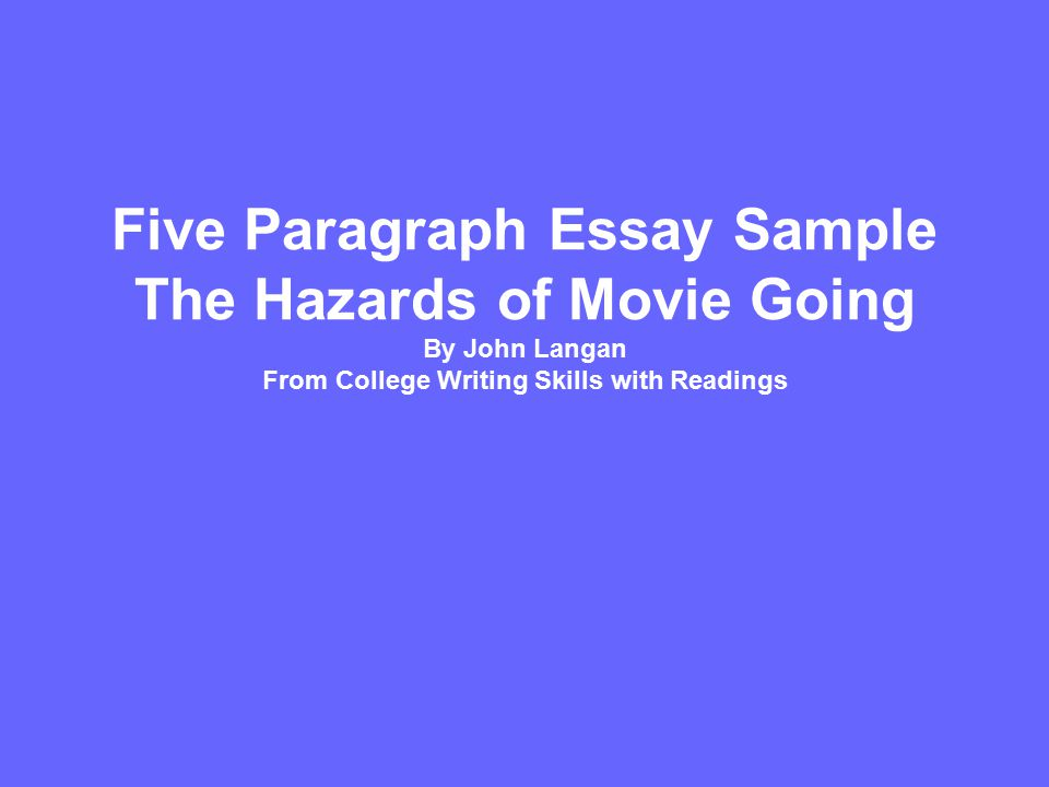 five paragraph essay sample the hazards of movie going by john  1 five paragraph essay sample the hazards of movie going by john langan from college writing skills readings