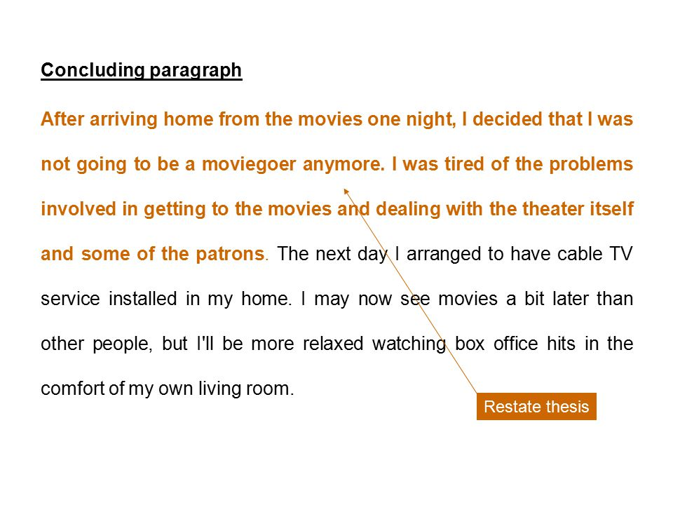 five paragraph essay sample the hazards of movie going by john  6 concluding paragraph after arriving home