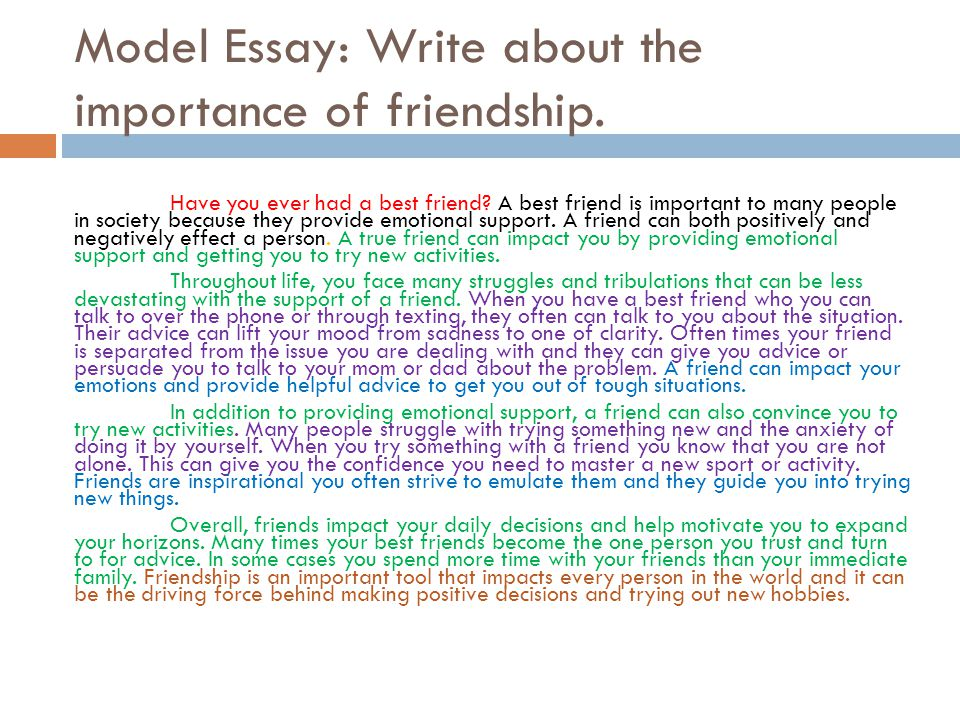 the importance of friendship essay A friend in need is a friend indeed is a proverb that stands true always in our day to day work, we come across so many persons and all of them are not our friends.