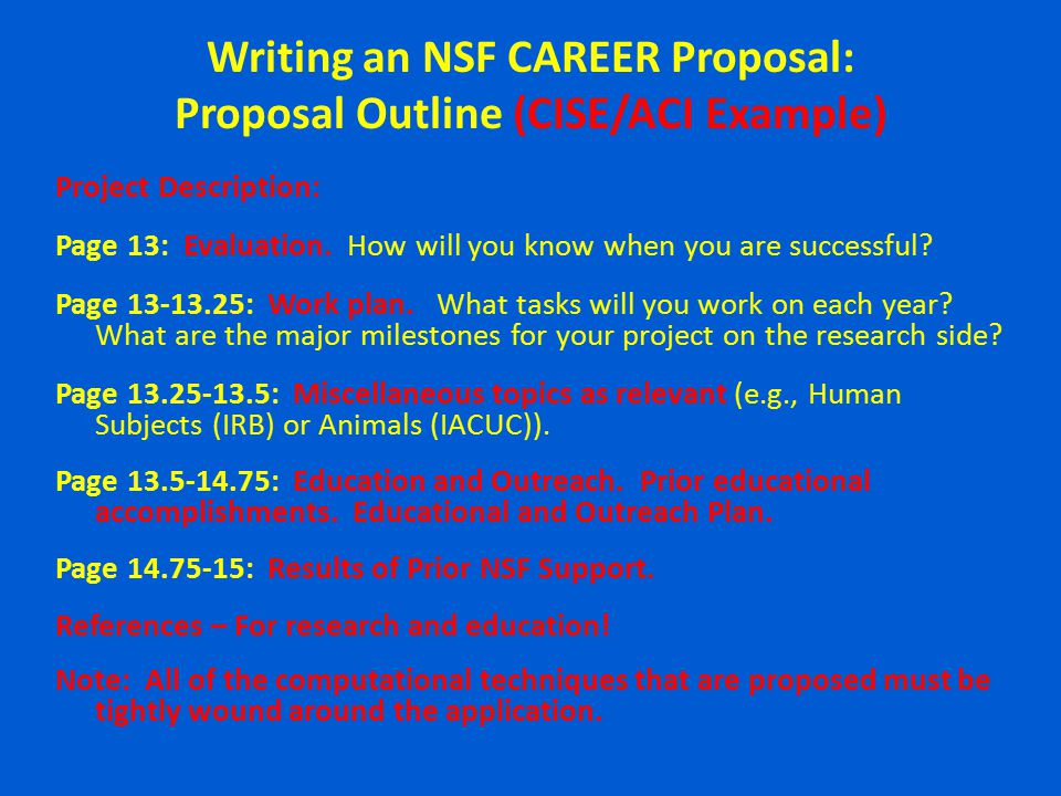 nsf essay format Nsf's mission is to advance the progress of science, a mission accomplished by funding proposals for research and education made by scientists, engineers, and.