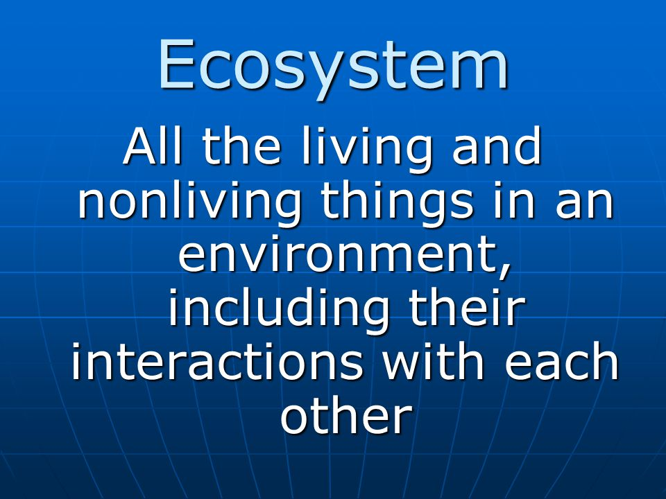 Ecosystem All the living and nonliving things in an environment, including their interactions with each other.