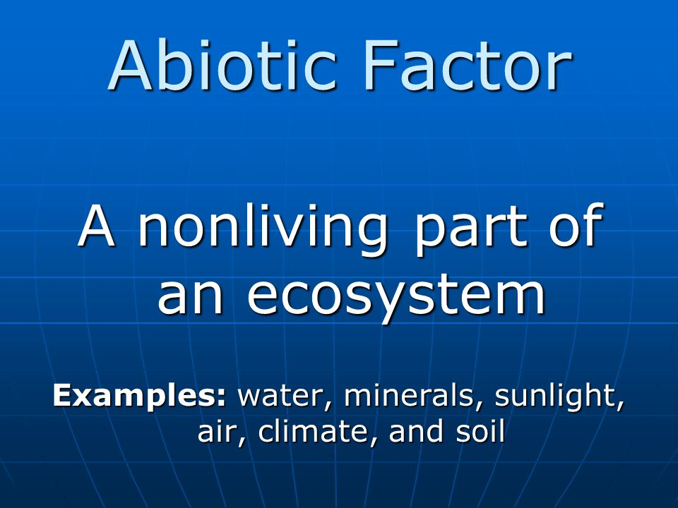 Abiotic Factor A nonliving part of an ecosystem