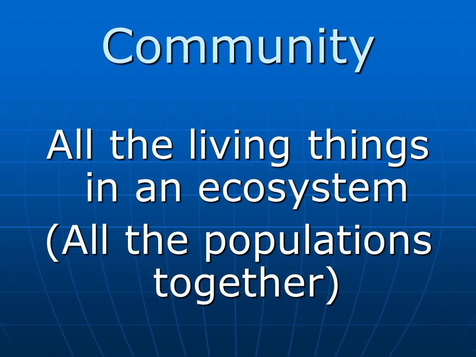 Community All the living things in an ecosystem