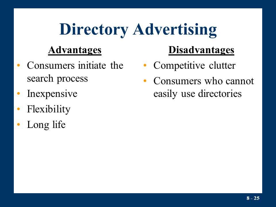 Advantage and disadvantage of directory services
