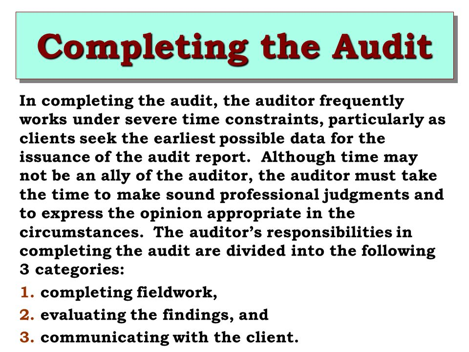 completing the audit Governance • the difference between clinical audit and research • the steps  involved in an audit process and the importance of completing the audit cycle.