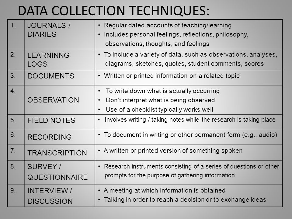 DATA COLLECTION TECHNIQUES: